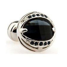 Black Pearl Circle Cufflinks Crystal Wedding Gift