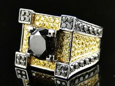 New Mens Gold Black And Canary Diamond Ring Solitaire Band Pinky Ring 7.7 Ct