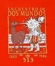 Peru T-Shirt orange, Lama Spanier Comic, Gr.104*110, Cusco 1492,Anden Inka Humor