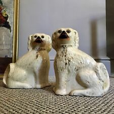 A Pair Of 19th C, Glass Eyed, Staffordshire Pottery Wally/Mantle Dogs