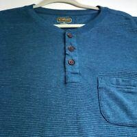 CE Schmidt Men's Short Sleeve Henley T Shirt XXL 2XL Blue White Stripes Workwear