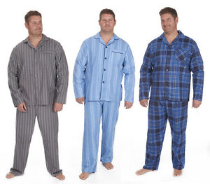 Men's Flannel Pajama Set Thermal PJ Top Bottoms Button Down Nightwear 3XL-5XL