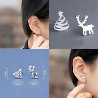 Womens Silver Plated Tiny Christmas Xmas Trees Elk Asymmetric Ear Stud Earrings