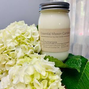 Scented Soy Wax Candle - Hand Poured & Highly Scented - Hydrangea
