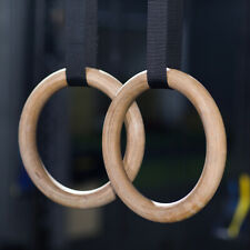 "1.3"" Wooden Gymnastic Rings Set Exercise Crossfit Gym Strength Training Pull-ups"