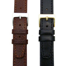 Genuine Leather Watch Strap Odd Sizes 15mm 17mm 19mm Black or Brown