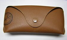 Ray-Ban Brown Soft Leather Eyeglasses or Sunglasses Case snap front black inside