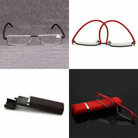 Portable Half Frame Rimless Reading Glasses Reader Presbyopic Eye Eyewear + Case