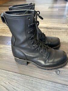 Frye Logger Boots Black Leather Vibram Womens Hiking Combat Lace Up  Size 6.5 M