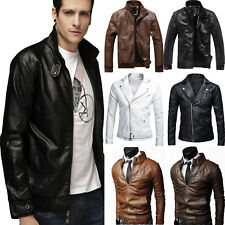 Men PU Leather Biker Motorcycle Jacket Retro Zipper Casual Slim Fit Outwear Tops