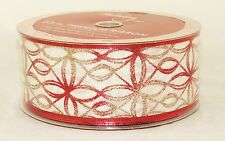 Red Gold Silver Sparkle Ovoid White Wide Wired Ribbon 50 yrd NEW christmas 2.5 i