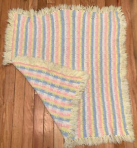 Vintage 1970's Handmade Crochet Baby Afghan Blanket Yellow Blue Pink Throw