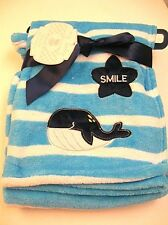 NWT My Baby Blue and White Stripes Whale Blanket with Star