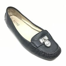 Women's Michael Kors Loafers Flats Shoes Size 7 M Back Leather Silver Lock K6