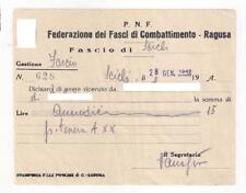 1942 PNF Fed. Fasci Combattimento Ragusa Fascio di Scicli Ricevuta per tessera