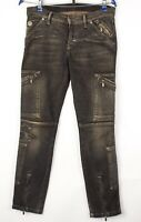 Belstaff Damen Wetterfest Schwarz Preis Slim Jeans Stretch Größe W32 L32 AVZ1510