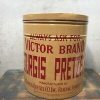 Vintage Victor Brand Sturgis Pretzels Tin Can Pretzel Tin Reading PA