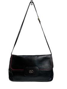 Vintage VALENTNO Garavani Shoulder Bag Black Red Leather Convertible Clutch V