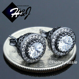 MEN 925 STERLING SILVER 9MM ICY DIAMOND ROUND BLACK/CLEAR STUD EARRING*BE80