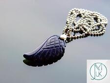 Blue Goldstone Piedra Preciosa Collar Colgante de Ala de Ángel Chakra Piedra de Curación