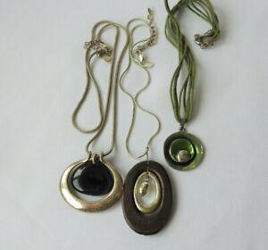 ah36 Next M&S Summer Boho Disc Pendant Necklace Wood Glass Metal x3 CLEARANCE