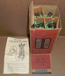"% Lionel O Trains .. Green .. ""Lionel (4) Light Floodlight Tower #395"" w/ Box"