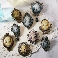 Vintage Cameo Flower Beauty Head Crystal Brooch Pin Women Wedding Bridal Jewelry
