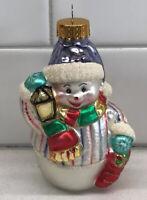 "Cute Snowman W/Lantern & Stocking Christmas Ornament Molded Glass 4"""