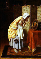 Fine Oil painting young woman watch her husband's portrait handpainted art work