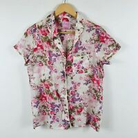 Annelise for Sussan Womens Top Blouse Size Small Button Up Floral Multicoloured