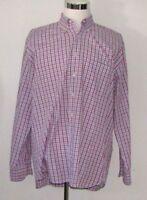 Peter Millar Men's size XL Pink Blue Plaid Check Button Down Front Up Shirt