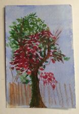 Original Painting Tree Red Green Brown Fence Blue Sky Strathmore Watercolor