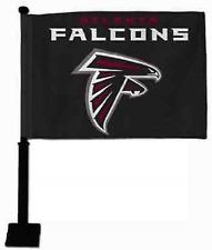 ATLANTA FALCONS CAR FLAG BLACK POLE DOUBLE SIDED