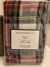 $159 Williams Sonoma Tartan Sham Euro Plaid Lodge holiday red pillow cover gift