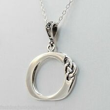 Celtic Initial Letter O Necklace - 925 Sterling Silver - Celtic Knot Initial NEW