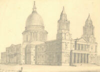Early 20th Century Graphite Drawing - St. Paul's Cathedral