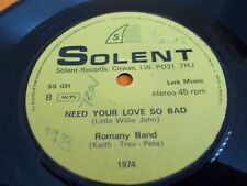 """THE ROMANY BAND - MEAN WOMAN BLUES SS 031 SOLENT RECORDS,7"""" VINYL SINGLE,SIGNED"""