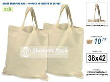 € 0,95/Borsa x 10 Borse Shopper Cotone Naturale 38x42 Sacchetti shopping tessuto