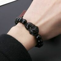 Obsidian Feng Shui Stone Wealth Pi Xiu Bracelet Attract Wealth and Good Luck