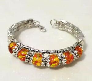 Ladies Bangle Tibetan Silver Bangle Amber Bead Bangle Woman Bracelet