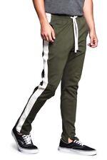 Men's Premium Ankle Zip Stretch Slim Fit  Workout Techno Track Pants TR526-E1H
