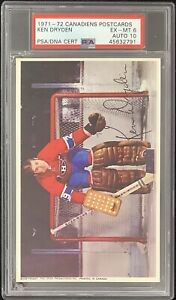 Ken Dryden Signed Rookie Card 1971 Montreal Canadiens Postcard PSA/DNA AUTO 10