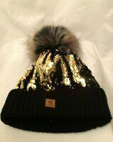 Womens Ladies Wool Black Gold Multi Coloured Sequin Faux Fur Pom Pom Beanie Hat