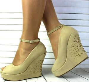 Ladies Wedge Sandals Womens High Heel Platform Party Dress Evening Shoes Size