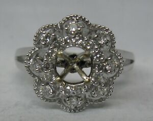 $1195 NEW 14KW .39 CT. DIAMOND HALO SEMI MOUNT ENGAGEMENT RING FOR 4.5-5MM STONE