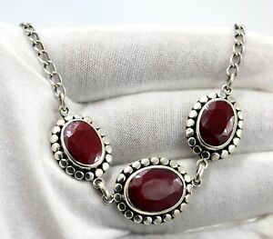 """Faceted Oval Pink Ruby 18"""" Necklace Solid 925 Sterling Silver jewelry KN2647"""