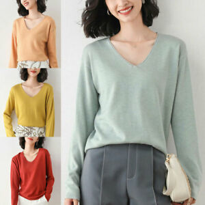 Women Cashmere Sweaters V-neck Sweater Loose Wool Sweater Plus Size Pullover
