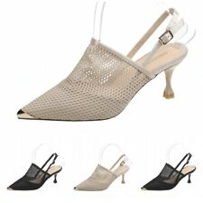 Summer Ladies Slingback Hollow Mesh Sexy Pointy Toe Sandals Ankle Buckle Shoes L
