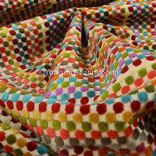 Modern Bright Multicolour Geometric Polka Dot Pattern Velvet Upholstery Fabric