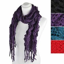 Women Knitted Plain Winter Scarf Ruffles Elasticated Fabric Long Scarves